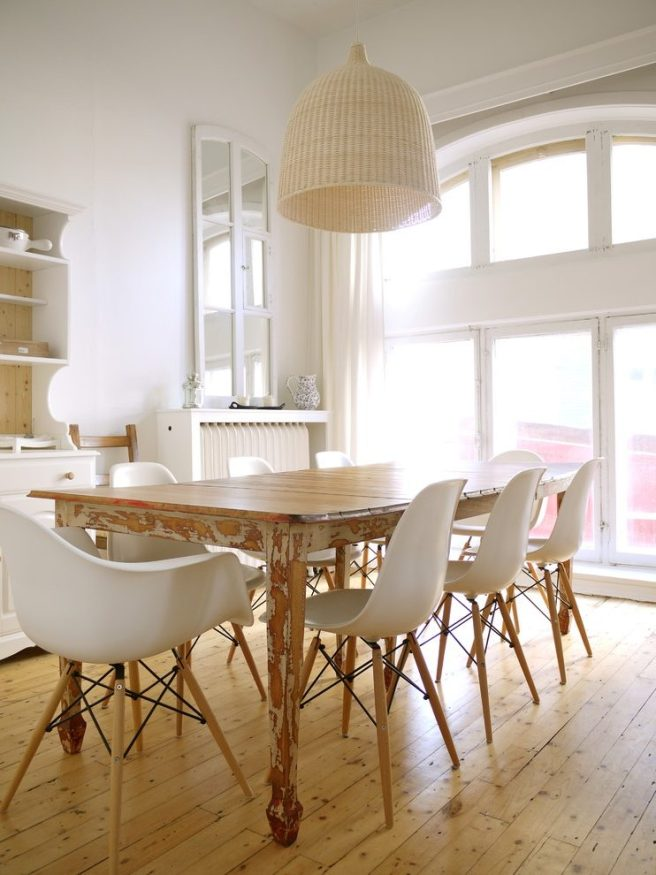 dining room with basket light