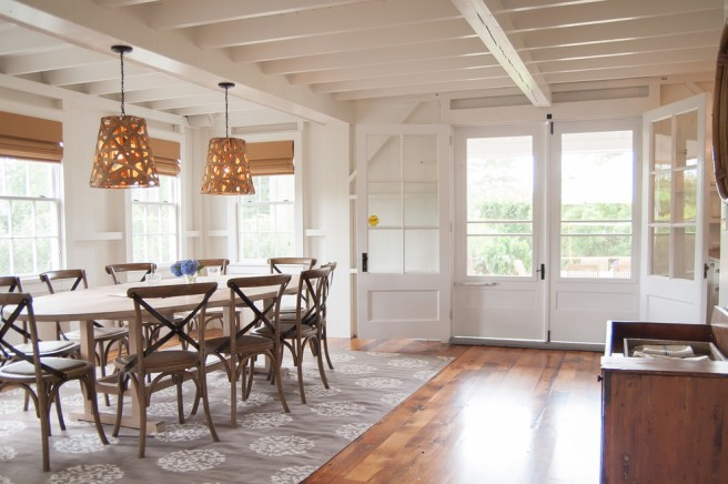woven-pendant-light-in-Dining-Room-Beach-with-exposed-beams-airy-3